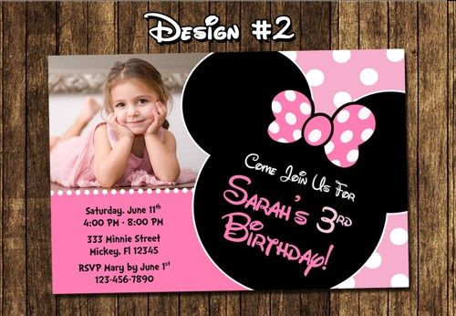 minnie mouse birthday invitations personalized photo ; c36e683e083c0d334bcd7c28a1d70878