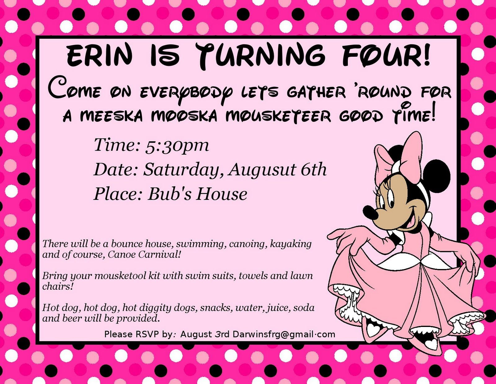 minnie mouse wording for birthday invitation ; 16a2eb60e95e30c62ea1cffa72689c8f