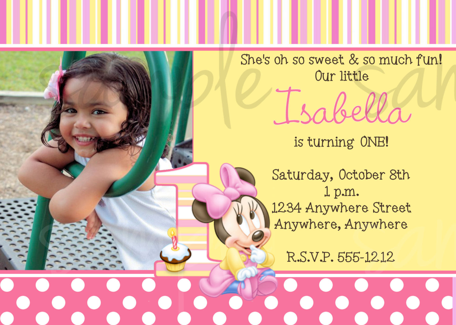 minnie mouse wording for birthday invitation ; Minnie-Mouse-1st-Birthday-Invitation-Wording