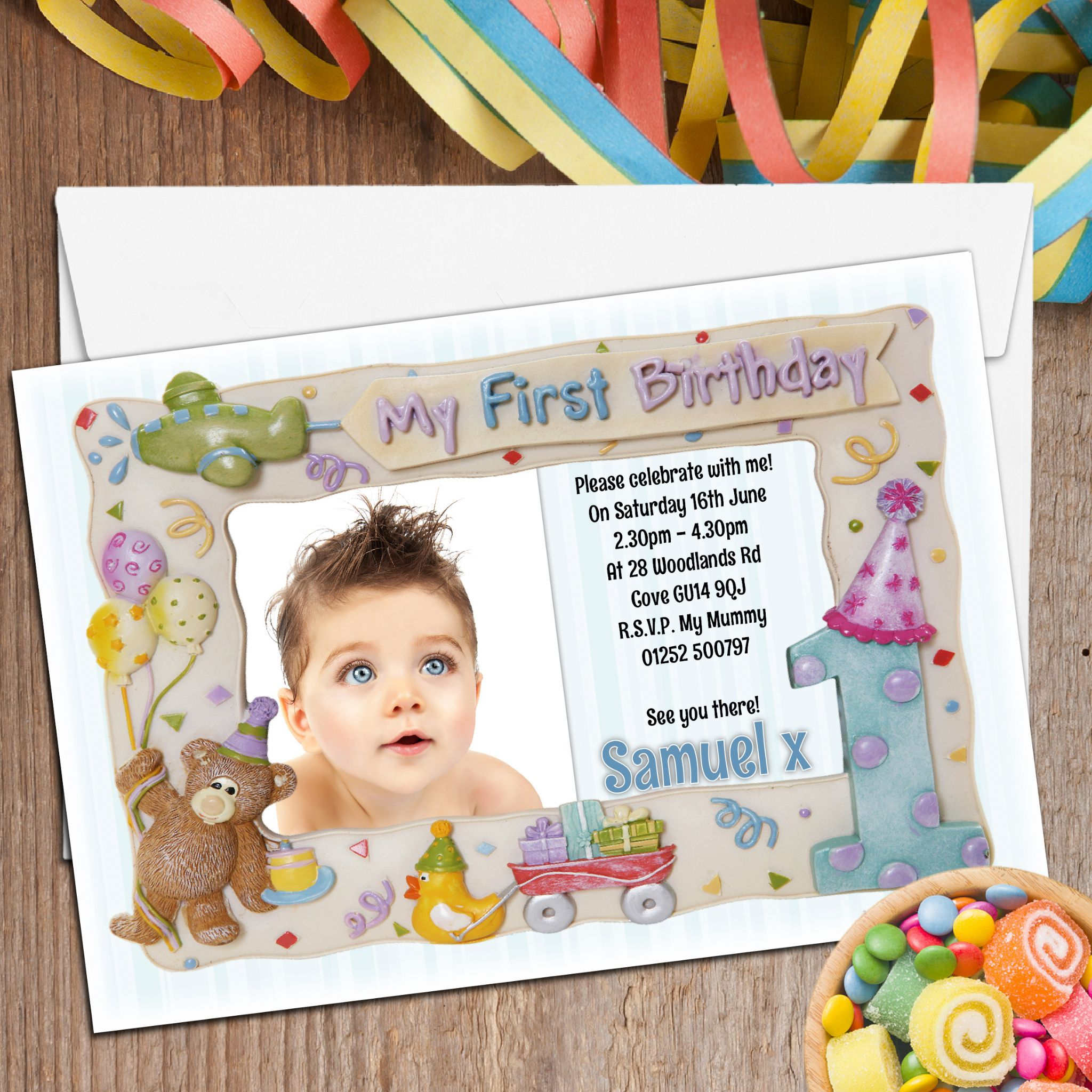 my first birthday picture frame ; 10-personalised-first-1st-birthday-party-frame-photo-invitations-n2-196-p