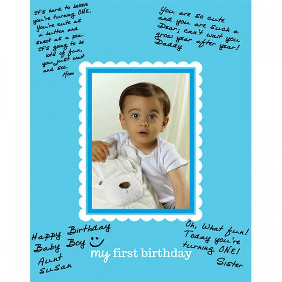 my first birthday picture frame ; blue_1st_birthday_autograph_frame_matte