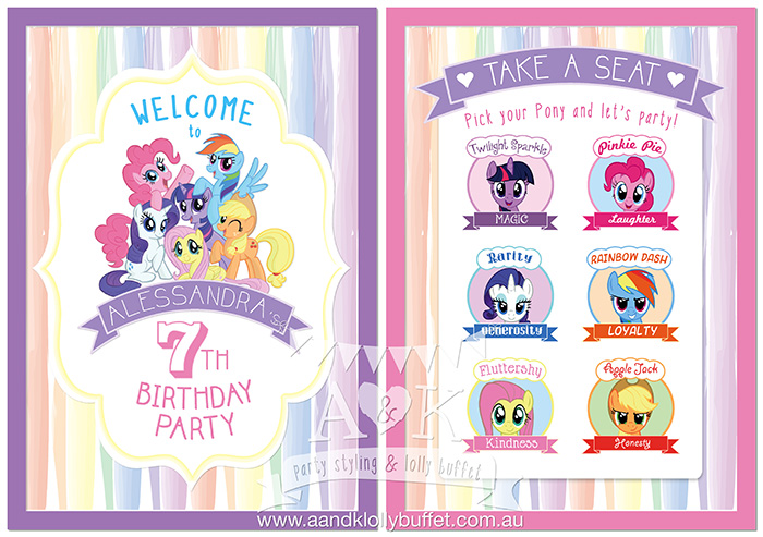my little pony birthday sign ; EVENT-SIGNS