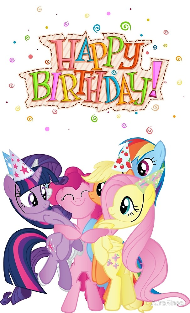 my little pony happy birthday ; flat,1000x1000,075,f