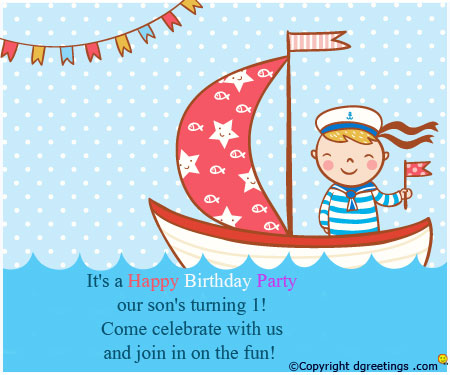 my son first birthday poem ; first-birth-day-party-invitation