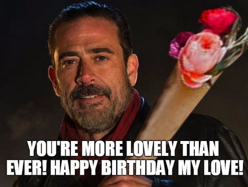negan happy birthday ; negan_happy_birthday_wife_meme1