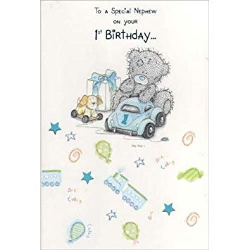 nephew 1st birthday card ; 4180sdBw8ZL
