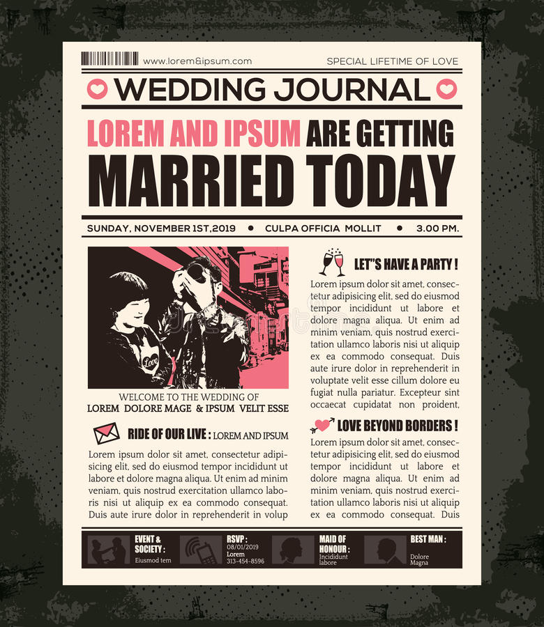 newspaper birthday card template ; newspaper-wedding-invitation-design-template-style-vector-40341252