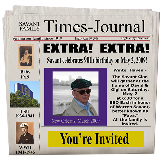 newspaper birthday invitation template free ; Invitation-Papa_s-birthday-e-mail