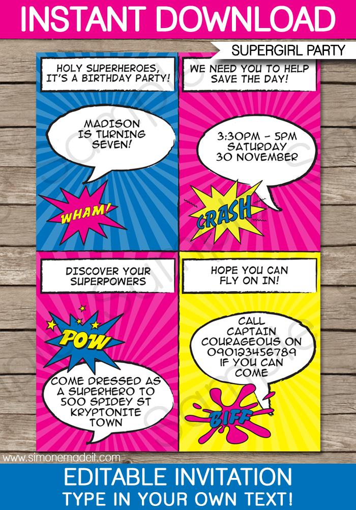 newspaper birthday invitation template free ; Printable-Superhero-Girl-Invitation-Template