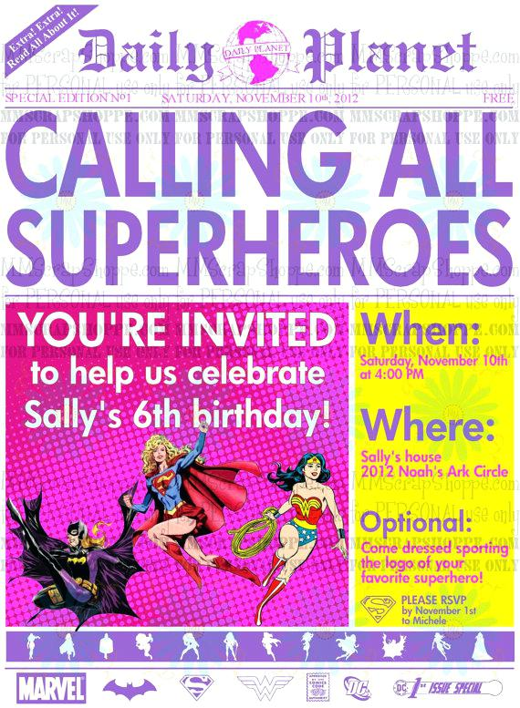 newspaper birthday invitation template free ; girls-superhero-newspaper-custom-printable-birthday-invitation-girl-invitations-dc-template-free