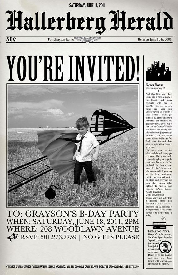 newspaper birthday invitation template free ; superhero-newspaper-birthday-invitations-templates_79874