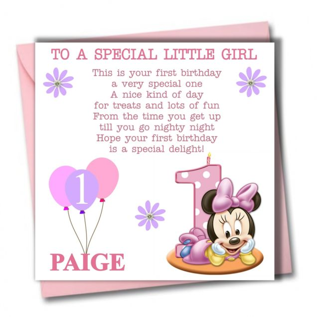 niece first birthday card ; niece-first-birthday-card-1st-birthday-cards-personalised-minnie-girl-daughter-granddaughter-babies-first-1st