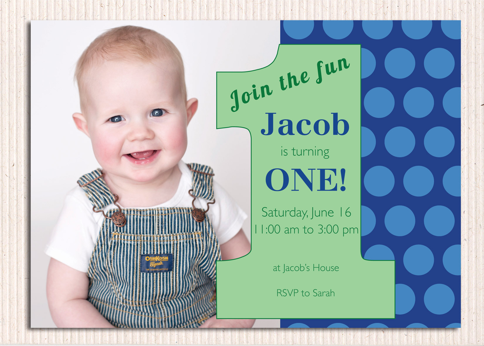 one year birthday invitation ; best-sample-first-birthday-invitation-cards-perfect-ideas-number-turning-one-year-polka-dot-blue-real-photo