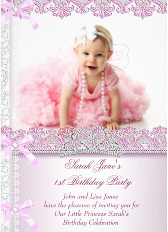 one year old birthday invitation templates ; First-1st-Birthday-Party-Girls-Princess-Pink-Photo-Birthday-invitation