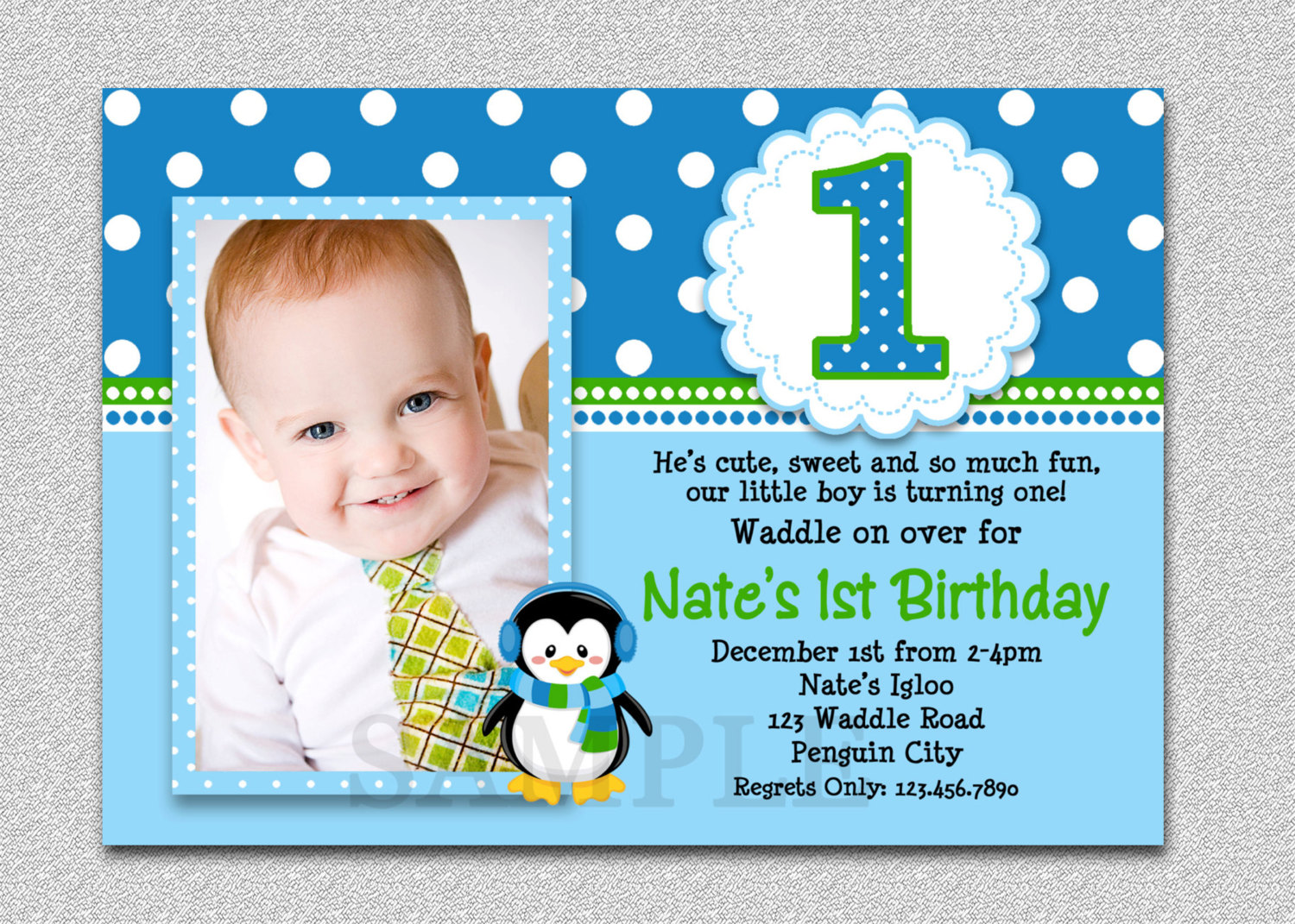 one year old birthday invitation templates ; Penguin-Birthday-Invitation-Penguin-Elegant-Invitation-For-One-Year-Old-Birthday-Party