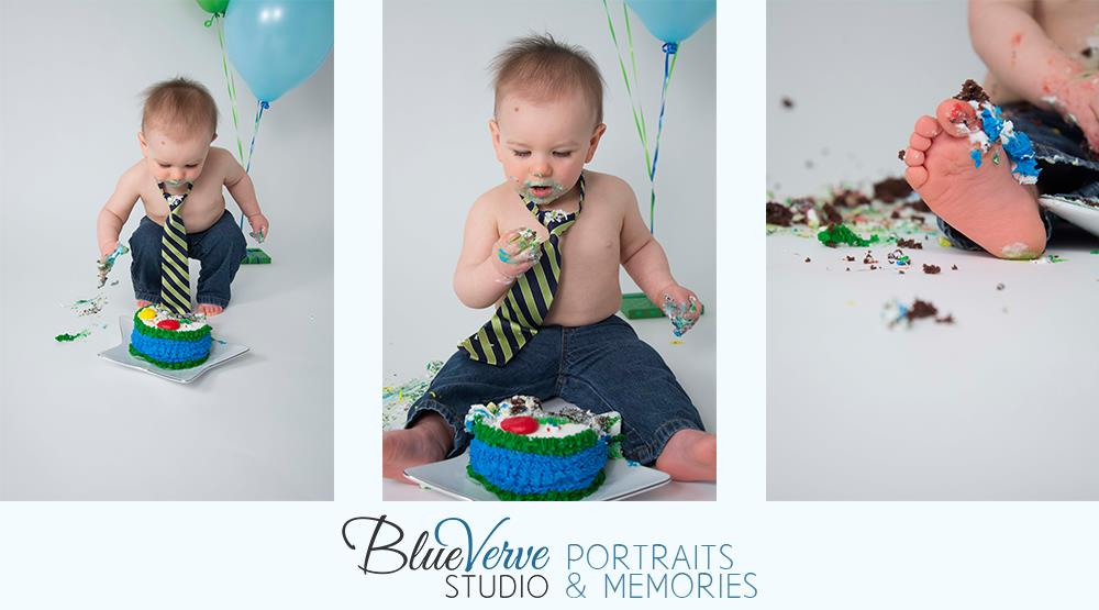 one year old birthday photo shoot ; 1_Year_Old_Cake_Smash_Portraits_Boy_4