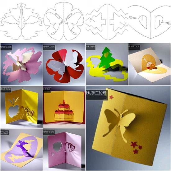 origami birthday card instructions ; 3D-Kirigami-Greeting-Cards-with-TemplatesF