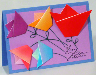 origami birthday card instructions ; mothers-day-card-origami-tulips