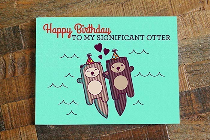 otter birthday card ; 715Obu6AvrL