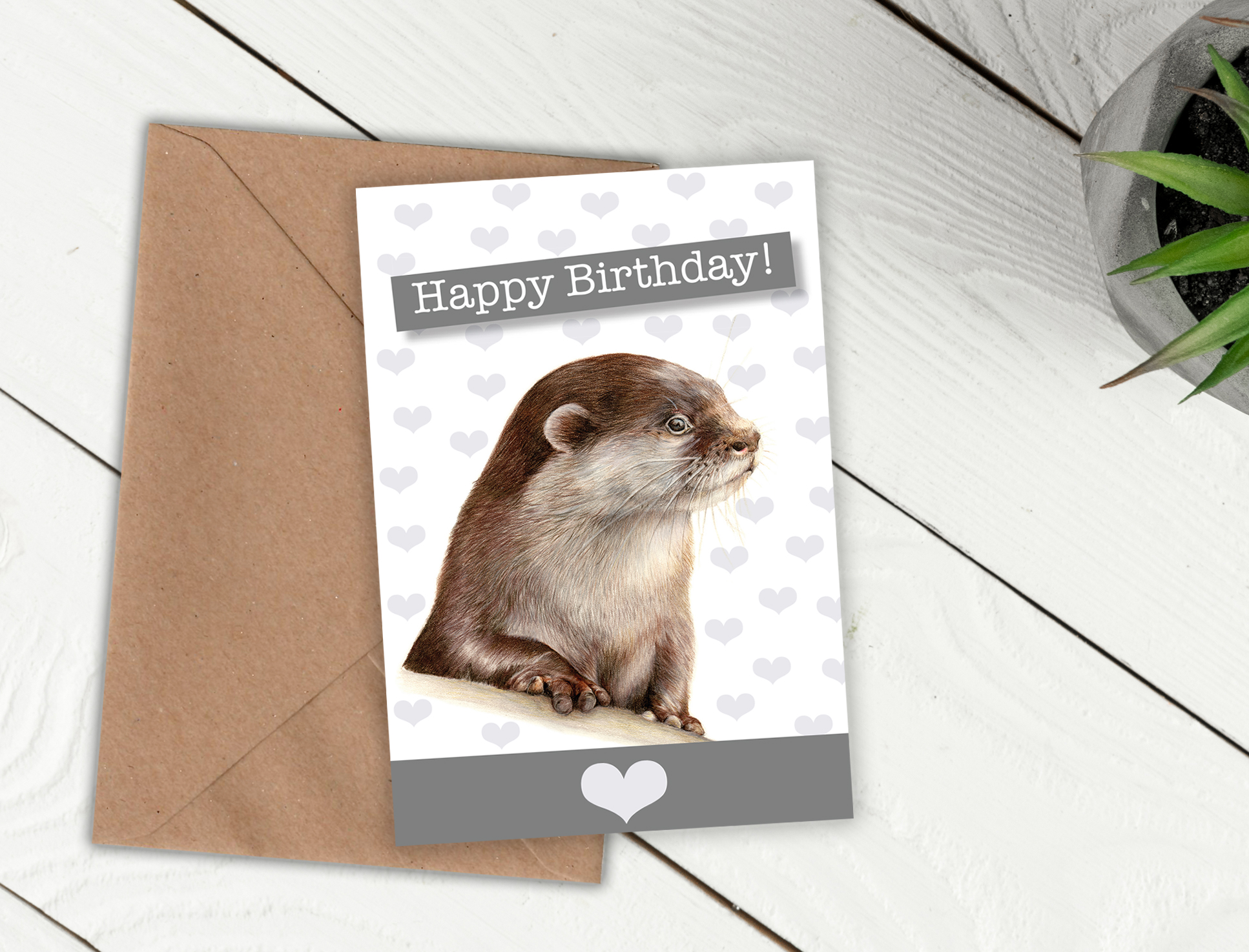 otter birthday card ; George_Birthday_white_zoom