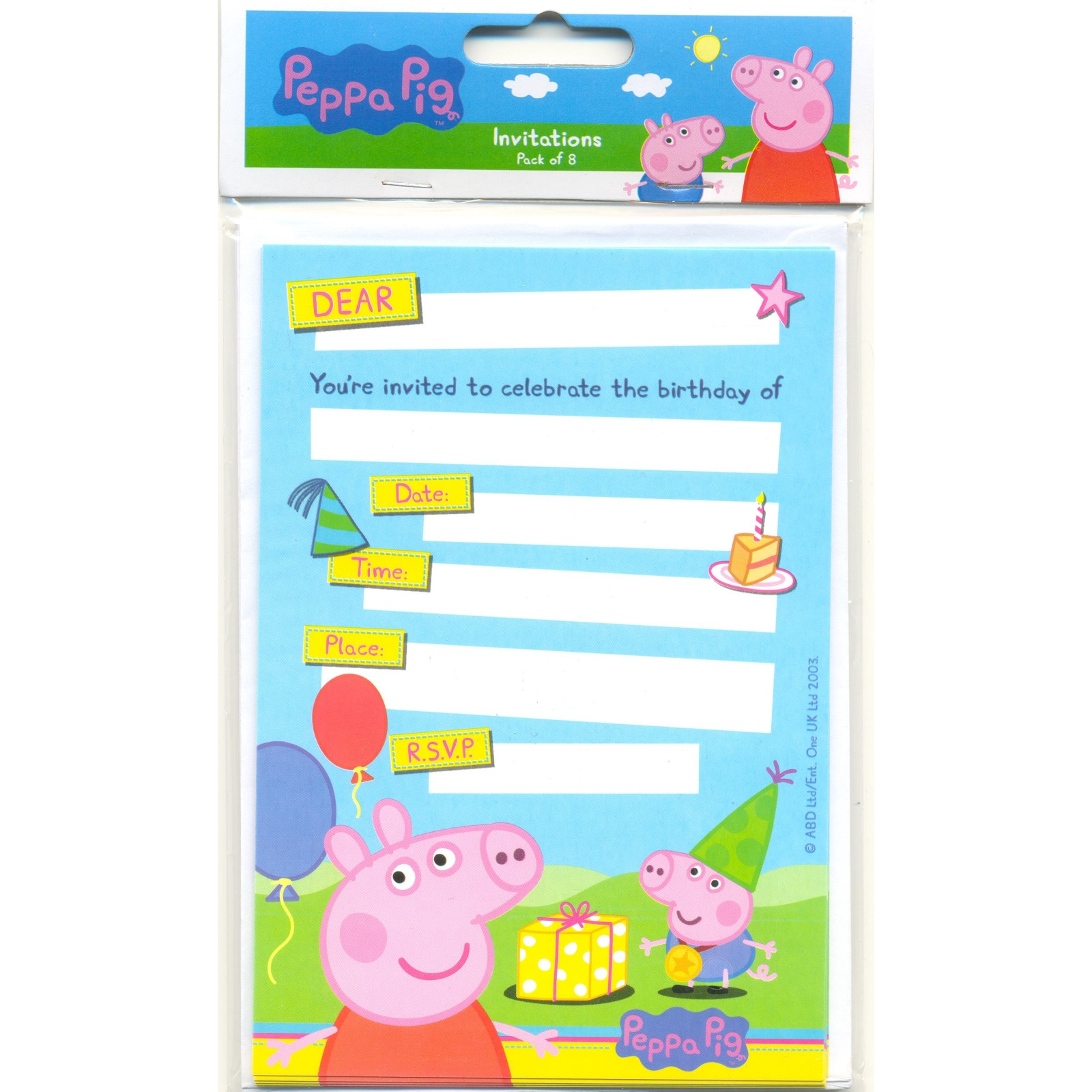 peppa pig birthday party invitation template free ; peppa-pig-party-invitations-peppa-pig-kids-party-supplies-8-invitations-and-envelopes-kids