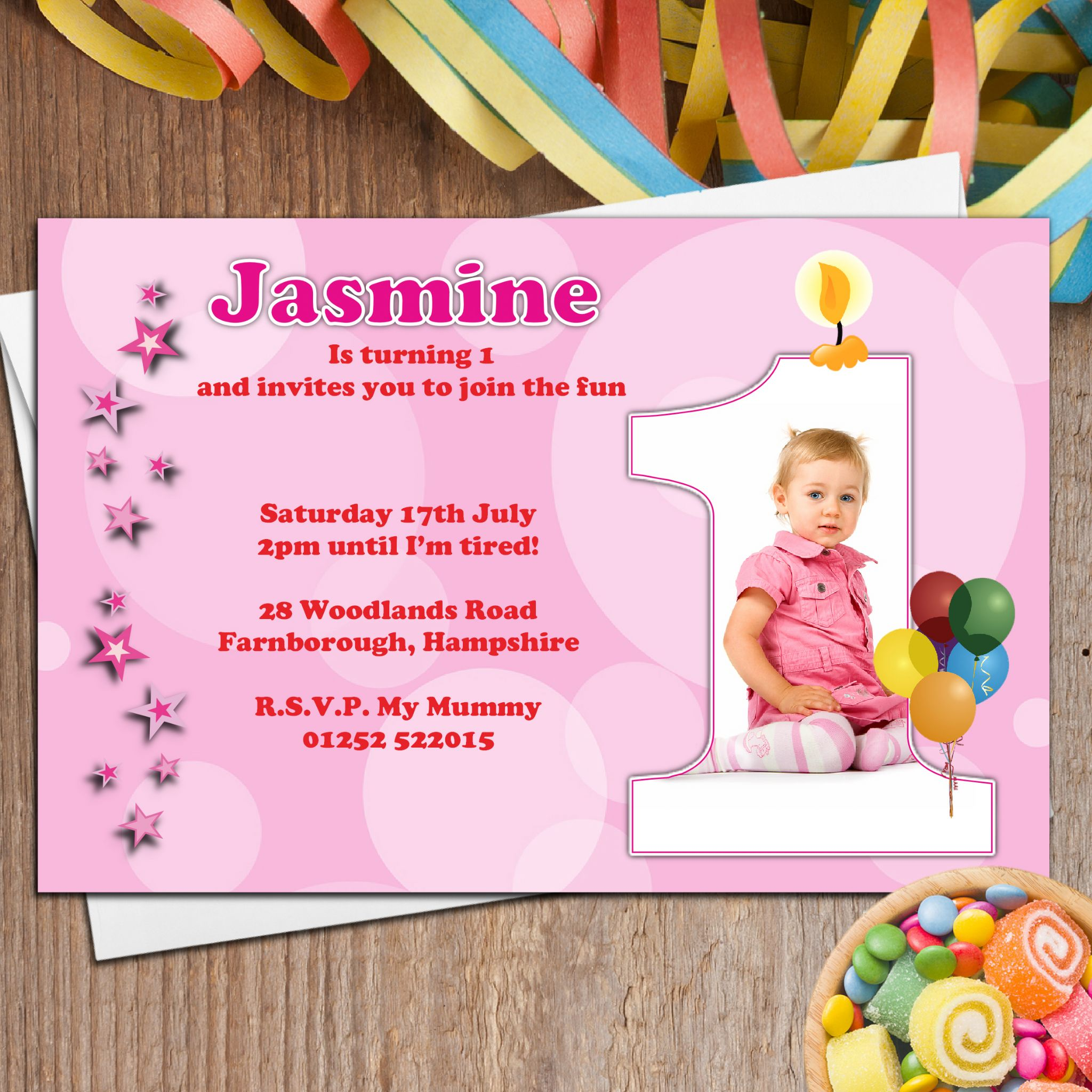 personalised childrens birthday party invitations ; 10-personalised-girls-first-1st-birthday-party-photo-invitations-n20-4712-p