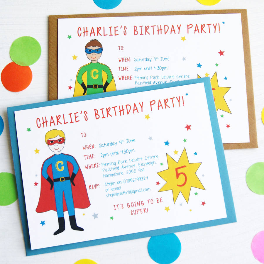 personalised childrens birthday party invitations ; original_personalised-superhero-birthday-party-invitations