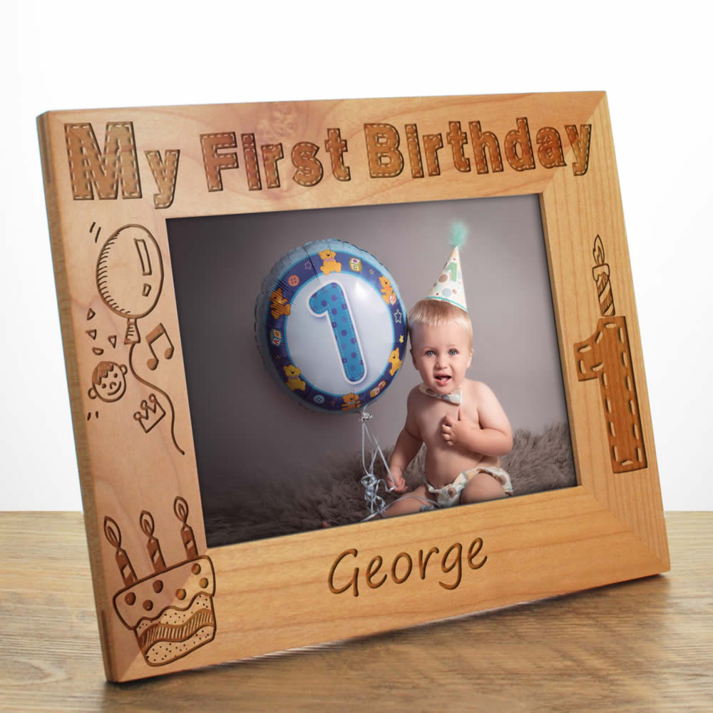 personalised first birthday photo frame ; first-birthday-photo-frame_LRG