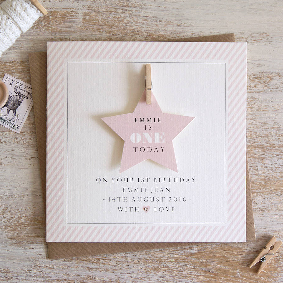 personalised first birthday photo frame ; original_personalised-star-first-birthday-card