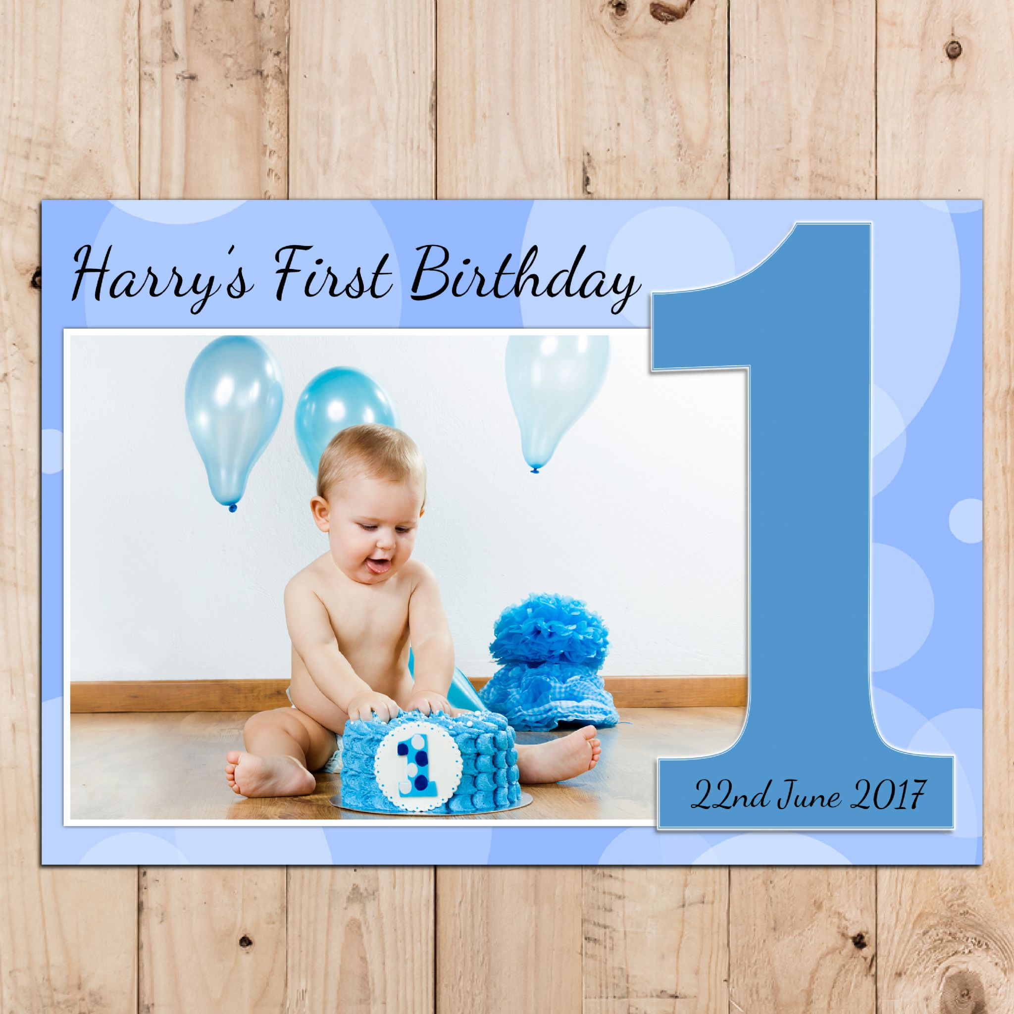 personalised first birthday photo frame ; personalised-boys-1st-first-happy-birthday-party-photo-banner-poster-n75-14678-p