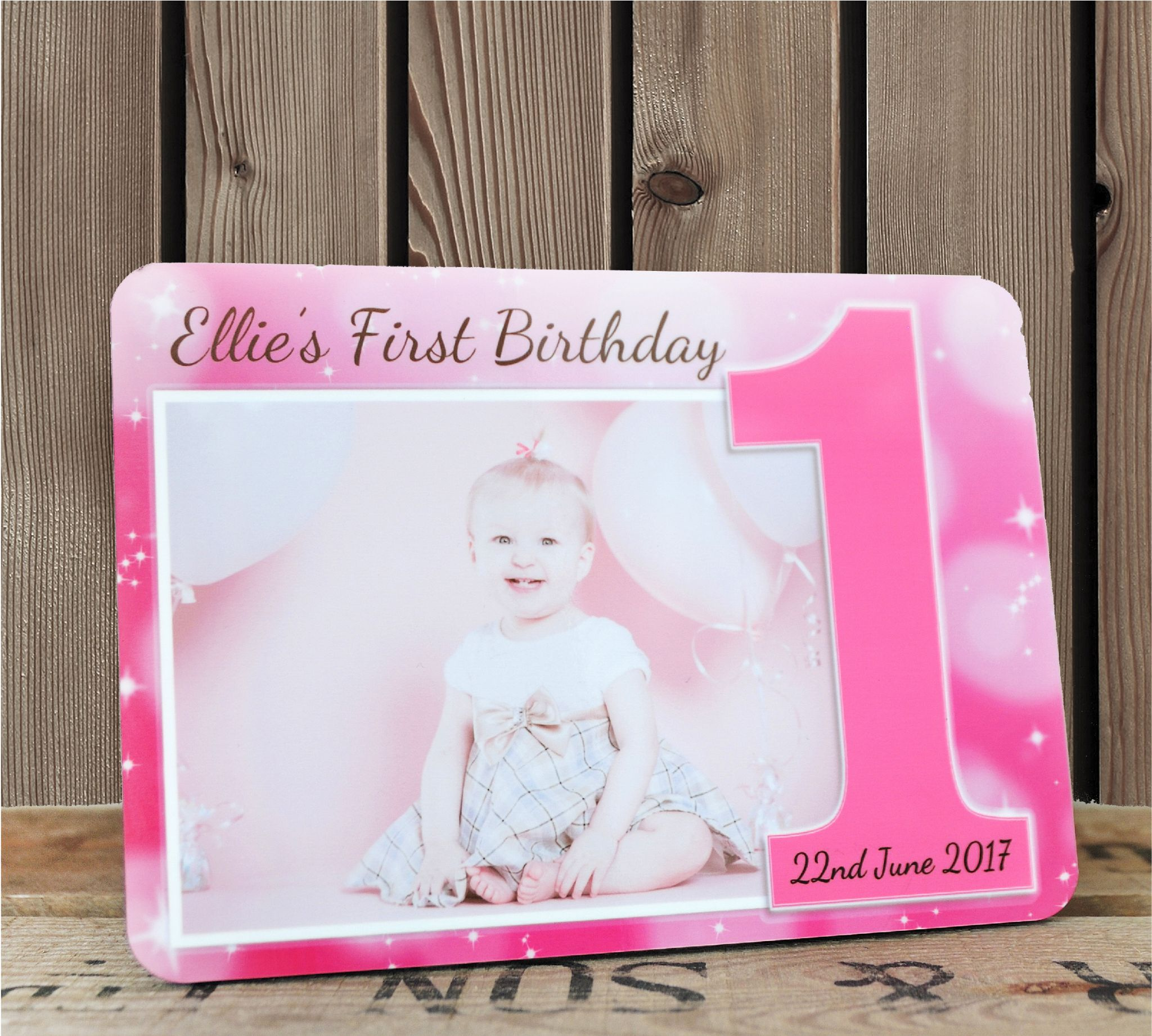 personalised first birthday photo frame ; personalised-girls-pink-sparkle-first-1st-birthday-wood-photo-frame-f18-wood-panel-size-8-x-10-25cm-x-20cm-14601-p