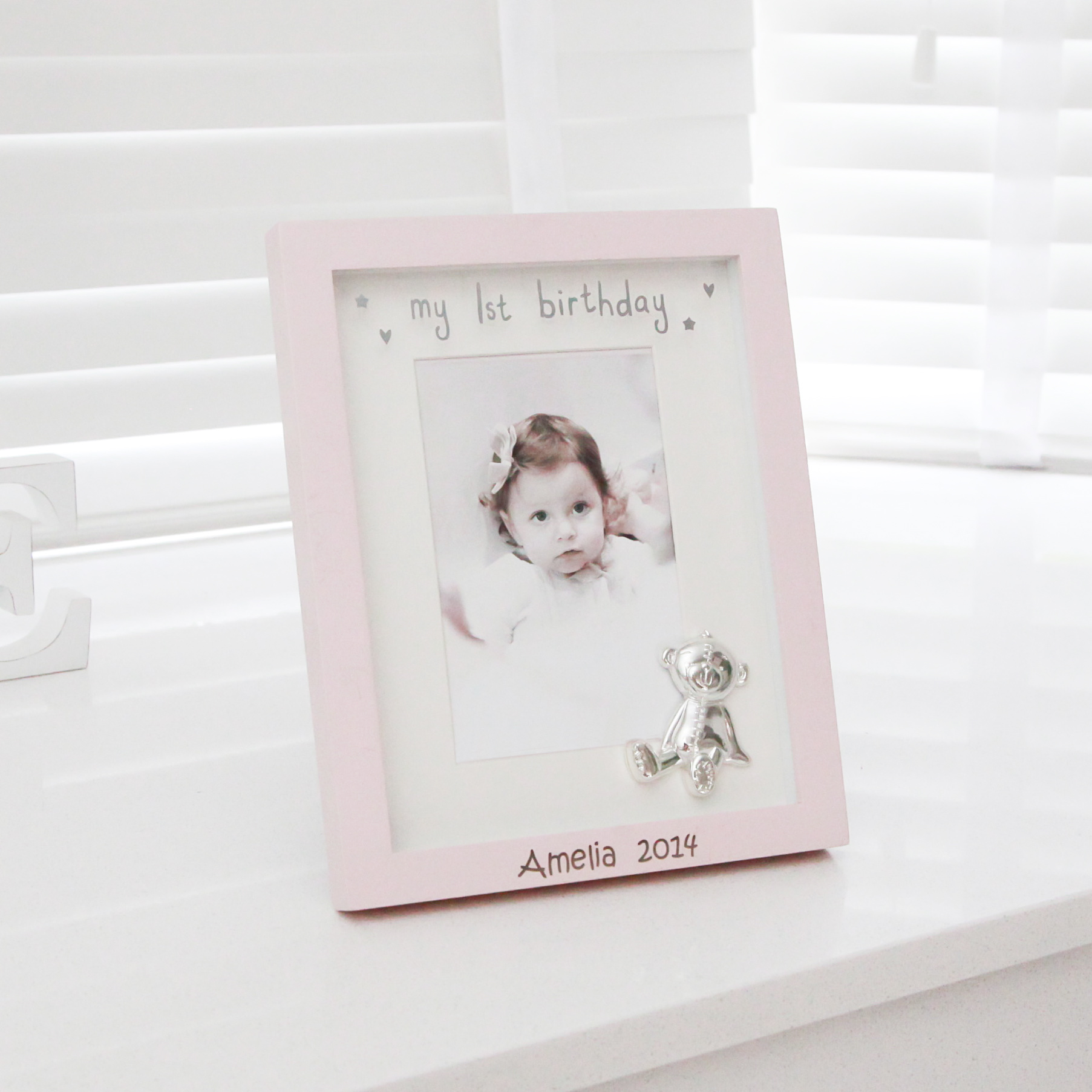 personalised first birthday photo frame ; pink-1st-birthday-frame-5070
