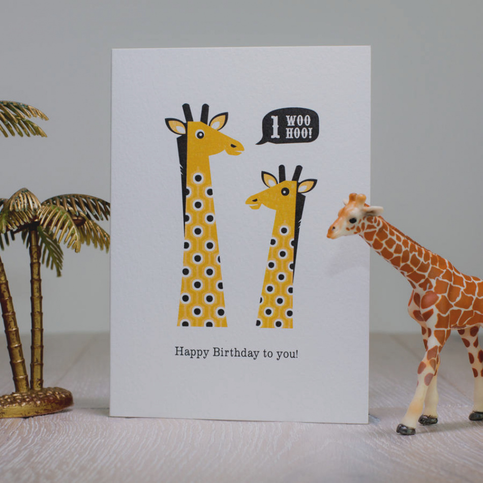 personalised giraffe birthday card ; awesome-of-giraffe-birthday-card-first-age-one-by-laura-danby