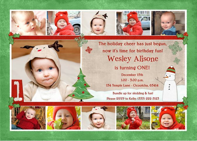 photo collage birthday card ; red-green-holiday-collage-snowman-1st-birthday-invitation
