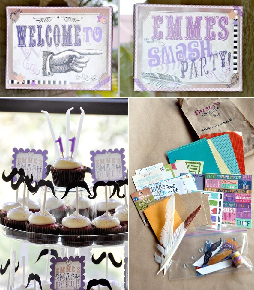 photo idea for birthday ; SMASH-themed-Scrapbooking-birthday-party-via-Karas-Party-Ideas-KarasPartyIdeas