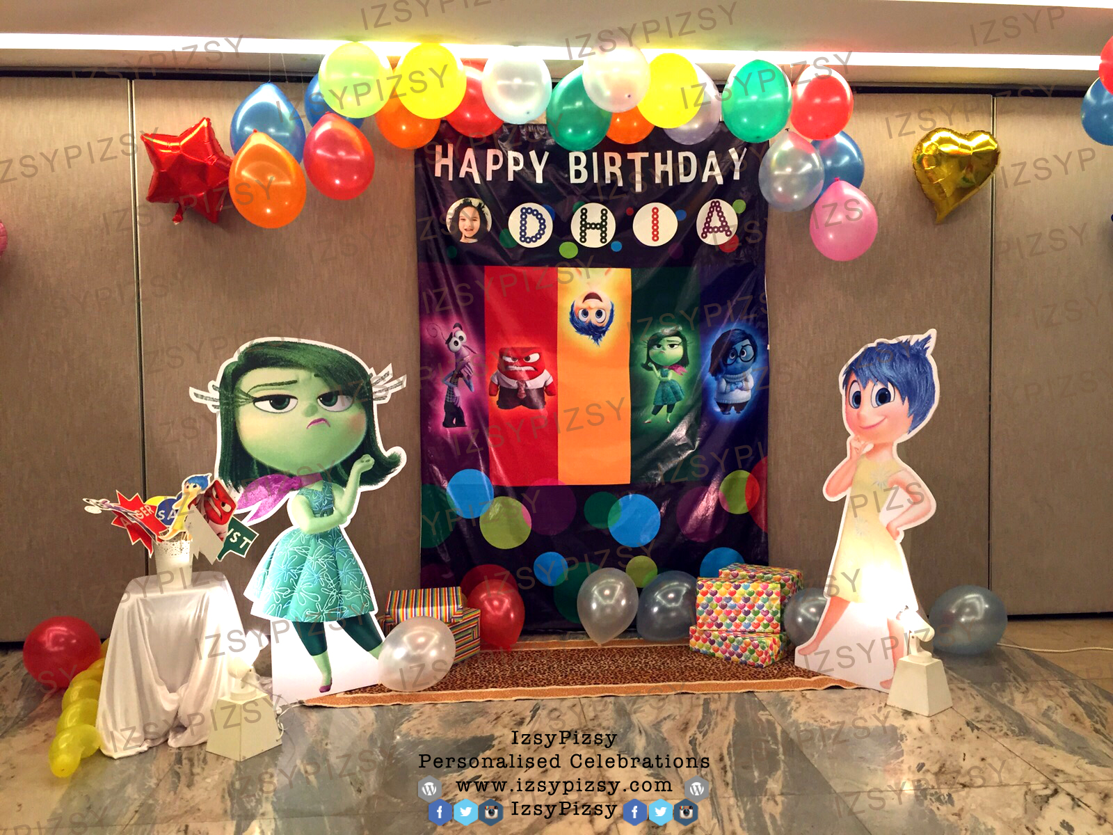photo idea for birthday ; inside-out-joy-anger-fear-disgust-sadness-bing-bong-riley-candy-buffet-dessert-doorgift-idea-birthday-party-photobooth-prop-banner-backdrop-standee-balloon