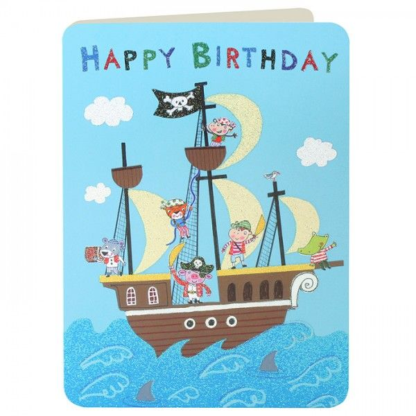 pirate birthday card ; buy_pirate_ship_birthday_card_for_little_pirate_online_shipmates_pirates_animals_jolly_roger_birthday_cards_for_boys_kids_children_grande