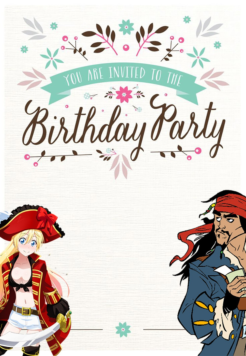 pirate birthday card printable ; Free-Printable-Pirate-Birthday-Invitation-Card