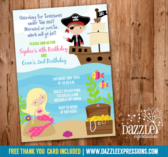 pirate birthday card printable ; MermaidandPiratecopy