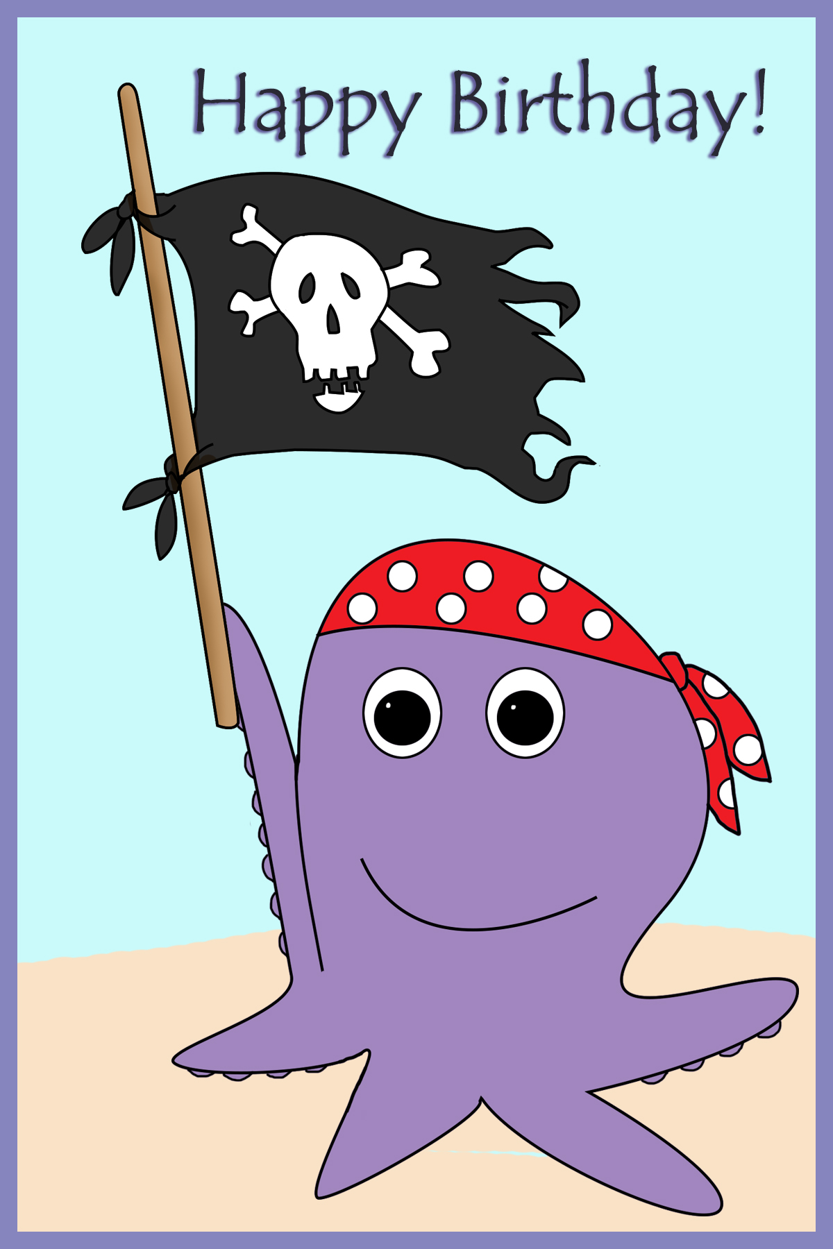 pirate birthday card printable ; octopus-and-pirate-flag