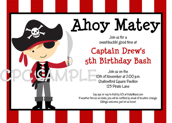 pirate birthday card printable ; pirate-birthday-cards-pirate-birthday-invitation-printable-or-printed-boy-girl