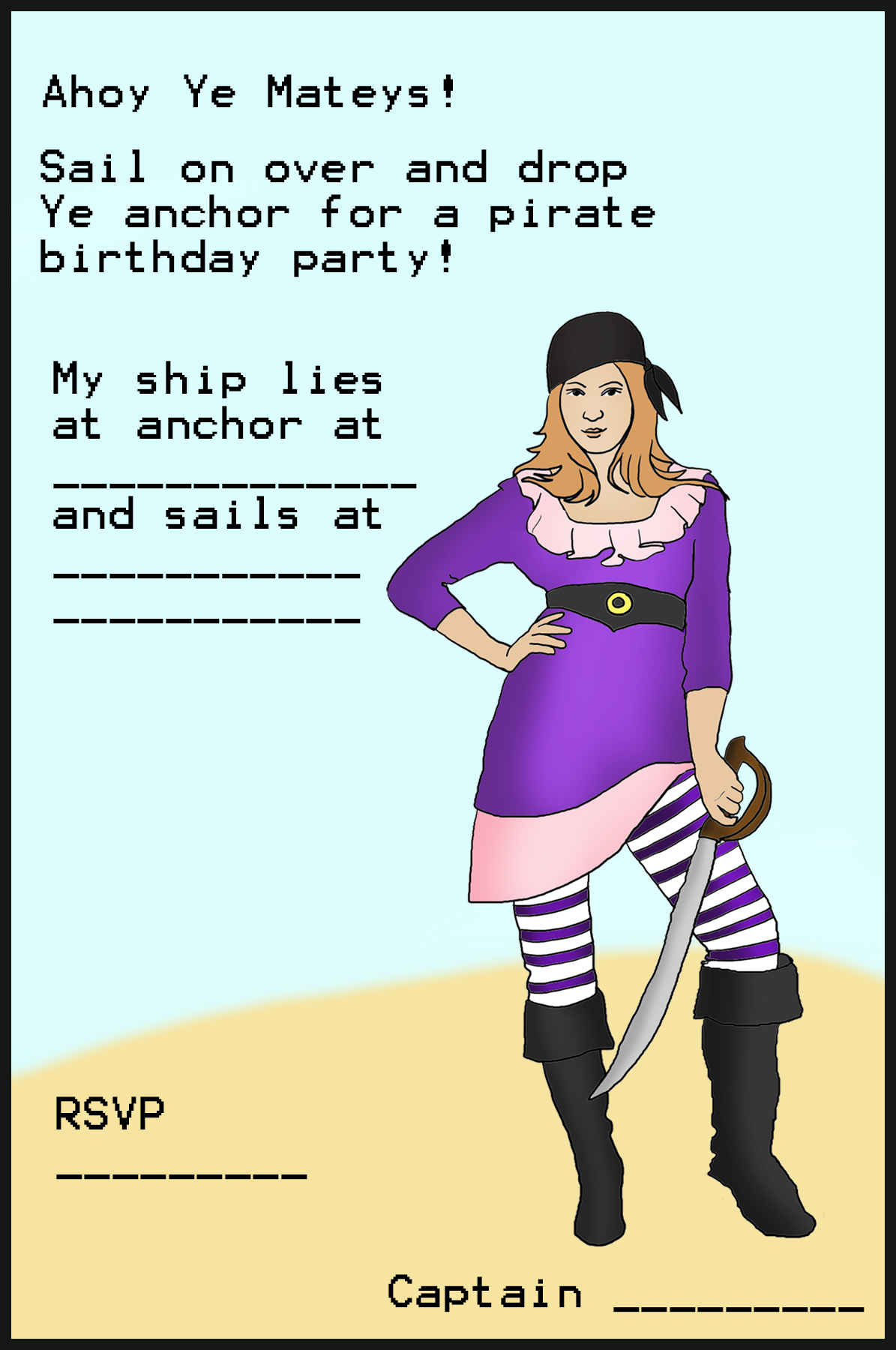 pirate birthday card printable ; pirate-invitation-6-7th-birthday1
