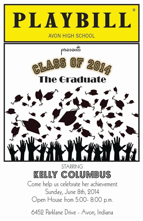 playbill birthday card ; 63ddb4bfc9874a09431e69c2410b50fe--graduation--graduation-ideas