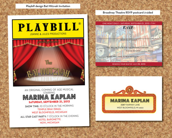 playbill birthday card ; playbill-birthday-invitation-playbill-invitation-playbill-theater-bat-mitzvah-invitation-rsvp-postcard