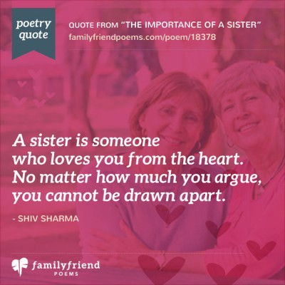 poem for a birthday sister ; sisters-cannot-be-drawn-apart