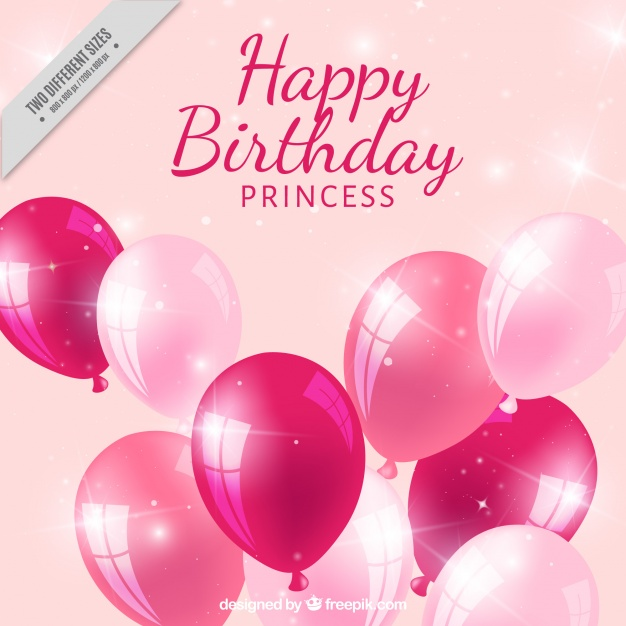 princess birthday background ; realistic-birthday-background-with-pink-balloons_23-2147602883