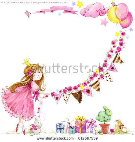 princess birthday background ; stock-photo-cute-princess-birthday-background-greeting-card-for-kids-watercolor-illustration-612667559