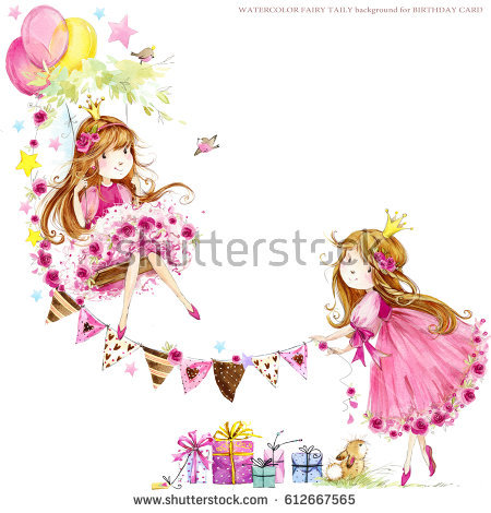 princess birthday background ; stock-photo-cute-princess-birthday-background-greeting-card-for-kids-watercolor-illustration-612667565