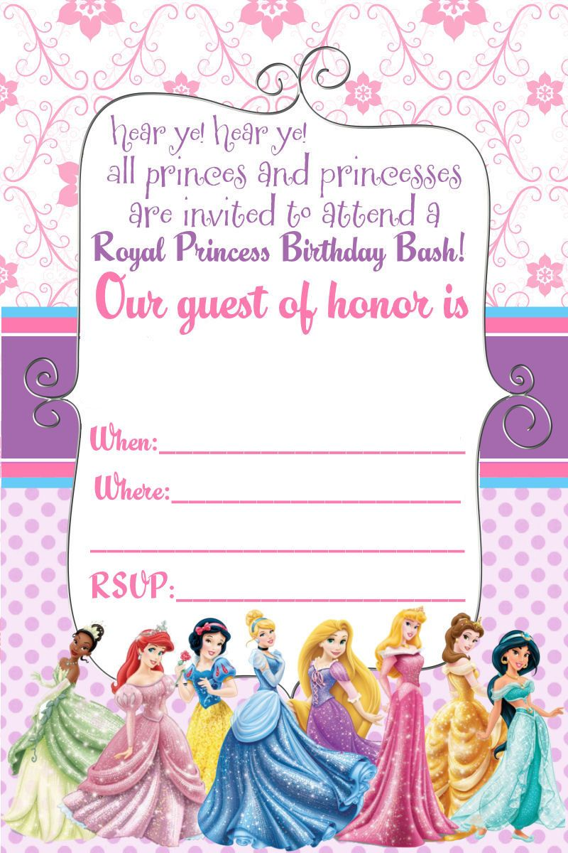 princess birthday invitation card template ; 14bf2594c9d4c9262fb8156d066a9ce2