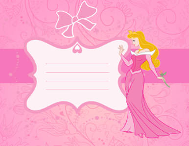 princess birthday invitation card template ; Blank-Pink-Invitation-with-princess